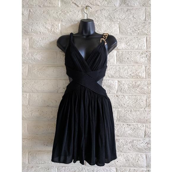 BCBGMaxAzria Dresses & Skirts - BCBG MAXAZRIA   black Grecian style chain dress